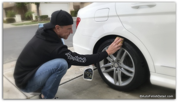 applying tire shine to mercedez benz tire