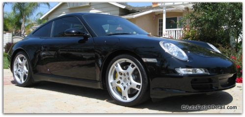black car wax on porsche
