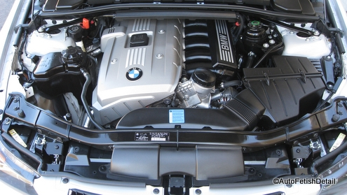 BMW auto engine detailing after