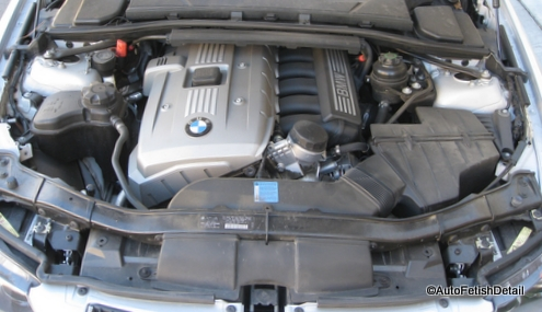 BMW auto engine detailing before