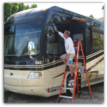 cleaning and waxing rv with rv cleaner wax