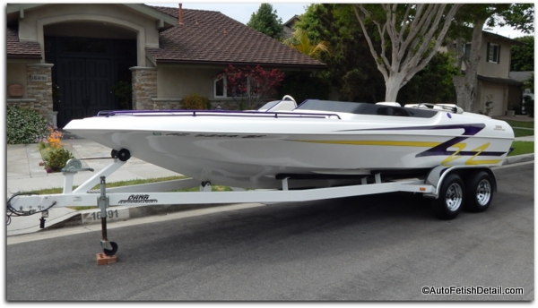 Dana performance boat with marine grade fiberglass boat wax