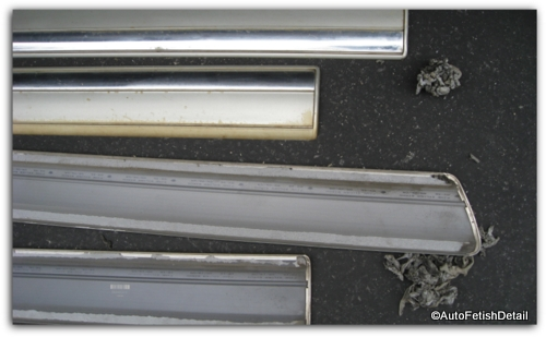 discolored faded truck door rails
