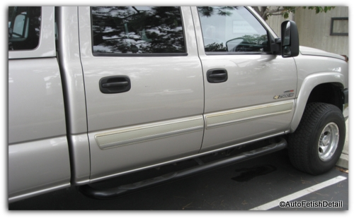 discolored truck side trim molding