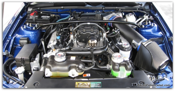 Ford Mustang GT500 car engine detailing