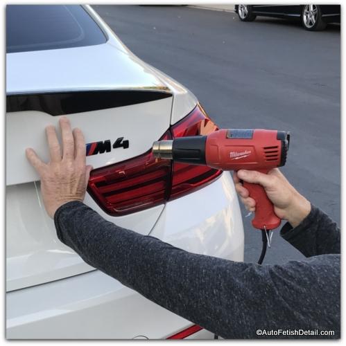 heat gun to debadge car