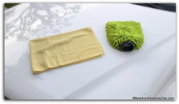 micro fiber detailing cloth and chenille wash mitt