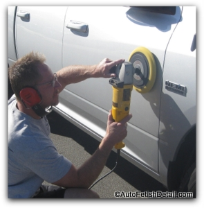 remove truck side molding using car buffer