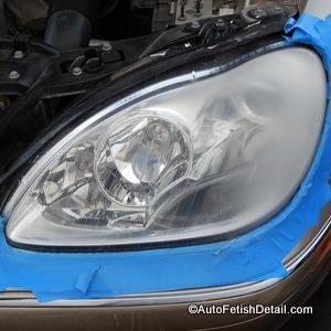 restoring mercedes plastic headlight
