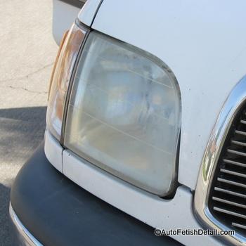 restoring plastic headlight foggy yellowing