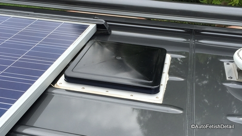 RV solar panel skylight