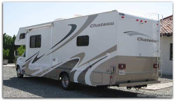 RV with paint gelcoat vinyl decals