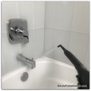 Steam cleaner used to disinfect bathroom