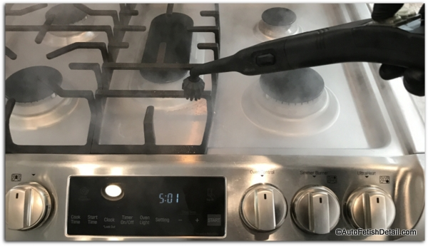 Using the best upholstery steam cleaner to clean stove top