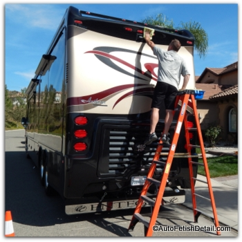 waxing RV with RV cleaner wax