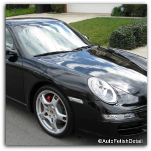 black car wax on a black porsche