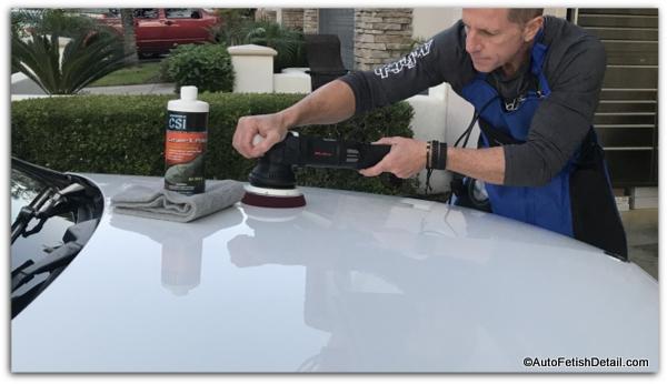 buffing a car with a random orbital car polisher