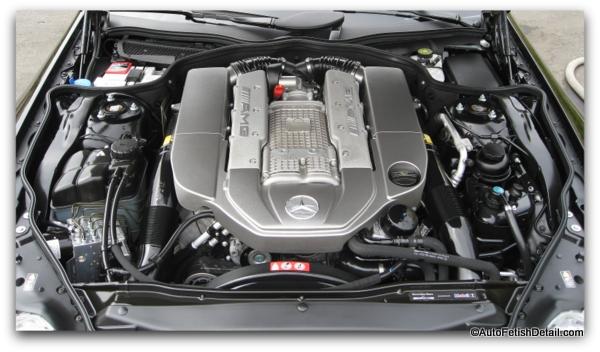 car engine detailing on Mercedes AMG CL63