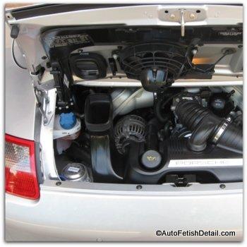 clean car engine on Porsche 4S cabriolet