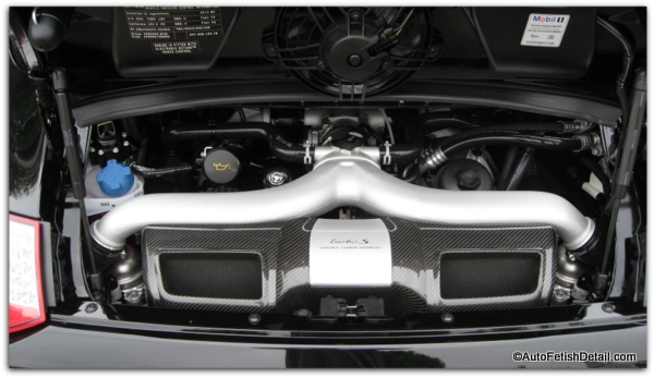 detailing car engine on Porsche Turbo S