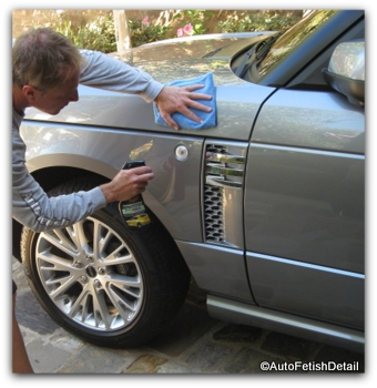 Meguiars quik detailer being used on a car
