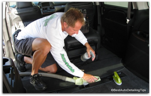 shampooing car upholstery