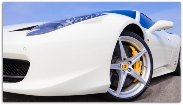 Teflon car wax on white ferrari