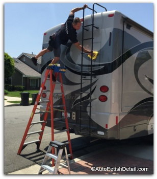 waxing rv with full body paint with rv wax